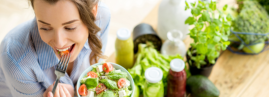 Woman eating healthily